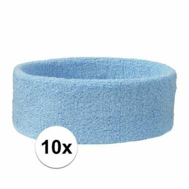 10x hoofd zweetbandje lichtblauw