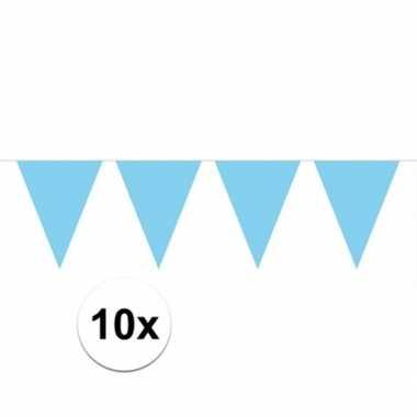10x vlaggenlijn / slinger baby blauw 10 meter