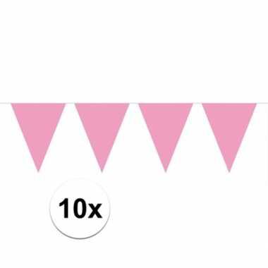10x vlaggenlijn / slinger baby roze 10 meter