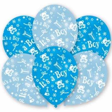 12x stuks blauwe geboorte ballonnen jongen 27.5 cm