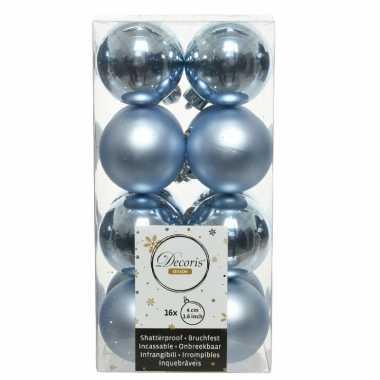 16x lichtblauwe kleine kerstballen 4 cm kunststof mat/glans