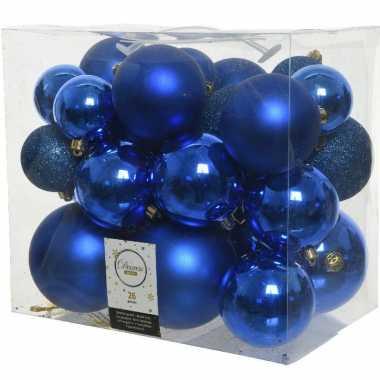26x stuks kobalt blauwe kerstballen 6-8-10 cm kunststof