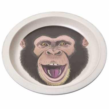 2x bamboe ontbijtbord chimpansee voor kinderen 21 cm