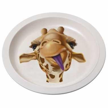 2x bamboe ontbijtbord giraffe voor kinderen 21 cm