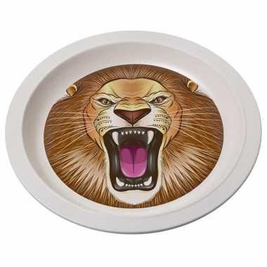 2x bamboe ontbijtbord leeuw voor kinderen 21 cm