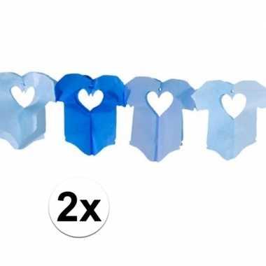 2x blauwe baby slinger met rompertjes