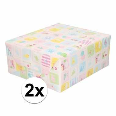 2x inpakpapier/cadeaupapier baby 200 x 70 cm pastel print