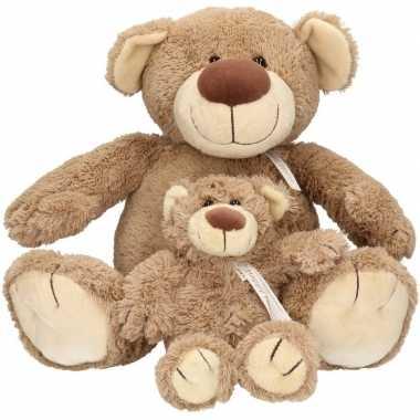 2x pluche mama en kind bella knuffelberen 40/22 cm knuffels