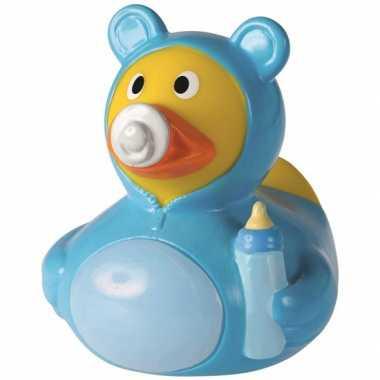 2x stuks badeendje blauw hoera een baby jongen 8 cm