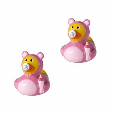 2x stuks badeendje roze hoera een meisje geboren