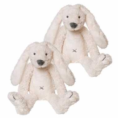 2x stuks happy horse knuffel konijn richie wit 28 cm