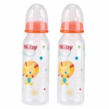 2x stuks oranje nuby baby drinkfles met leeuw 240 ml