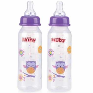 2x stuks paarse nuby baby drinkfles 240 ml