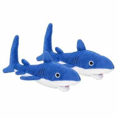 2x stuks pluche blauwe haai knuffel 13 cm baby speelgoed