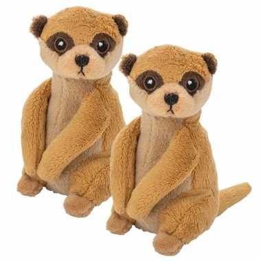 2x stuks pluche bruine stokstaartje knuffel 13 cm baby speelgoed