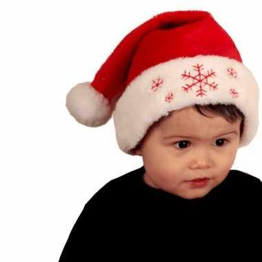 2x stuks rode baby kerstmutsen met sneeuwvlokken