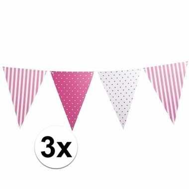 3 stuks lichtroze vlaggenlijnen met stippen en strepen 3,6 m