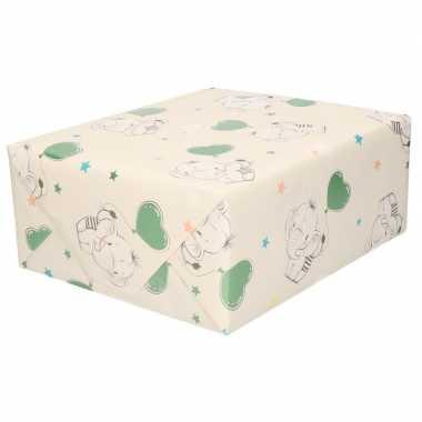3x inpakpapier/cadeaupapier baby olifant 200 x 70 cm