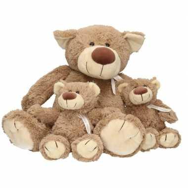 3x pluche mama en kind bella knuffelberen 40/22 cm knuffels