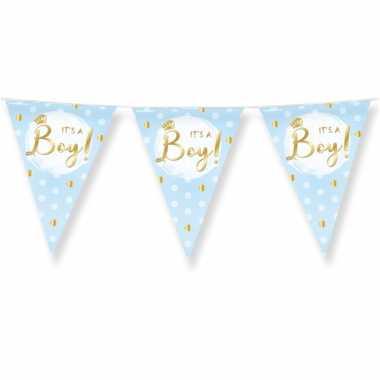 3x stuks geboorte vlaggenlijn jongen its a boy blauw 10 meter