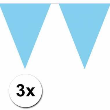 3x vlaggenlijn baby blauwe 10 meter