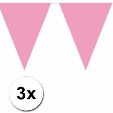 3x vlaggenlijn baby roze 10 meter