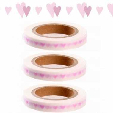 3x washi tape met roze hartjes
