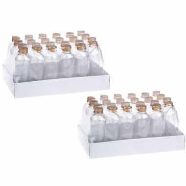 48x stuks diy cadeau/decoratie flesjes met dop kunststof 4 x 15cm
