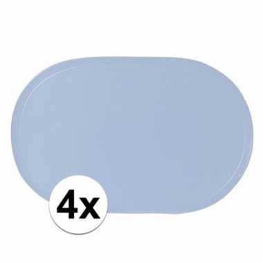 4x ovale placemats lichtblauw 43 x 28 cm