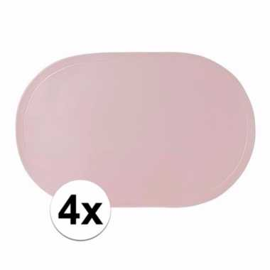 4x ovale placemats lichtroze 43 x 28 cm