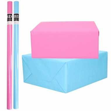 4x rollen kraft inpakpapier pakket roze en blauw babyshower/geboorte/gender reveal 200 x 70 cm