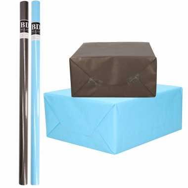 4x rollen kraft inpakpapier pakket zwart/blauw voor jongens/heren 200 x 70 cm