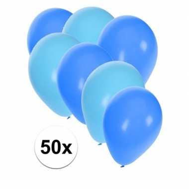 50x ballonnen lichtblauw en blauw