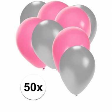 50x ballonnen zilver en lichtroze