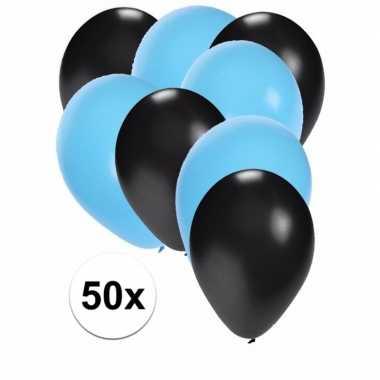 50x ballonnen zwart en lichtblauw