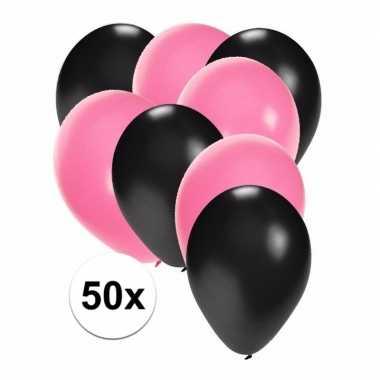 50x ballonnen zwart en lichtroze