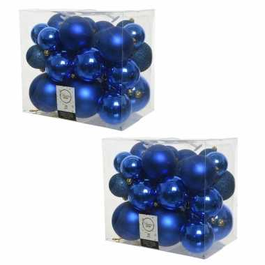 52x stuks kobalt blauwe kerstballen 6-8-10 cm kunststof