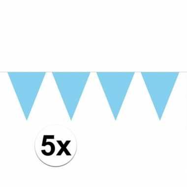 5x vlaggenlijn / slinger baby blauw 10 meter