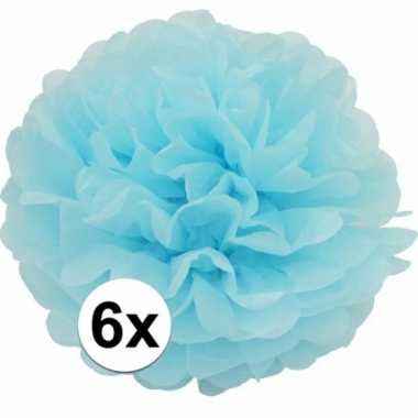 6 lichtblauwe decoratie pompoms 35 cm