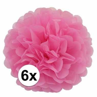 6 lichtroze decoratie pompoms 35 cm