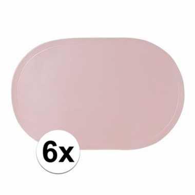 6x ovale placemats lichtroze 43 x 28 cm
