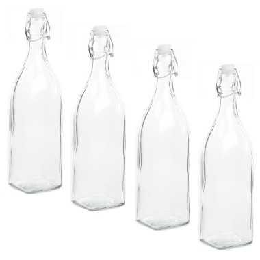 6x stuks diy glazen cadeau/decoratie flesje 1000ml/1ltr met beugeldop 8 x 32 cm