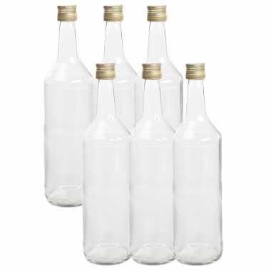 6x stuks diy glazen cadeau/decoratie flesjes 1000ml/1ltr met dop 8,5 x 30 cm