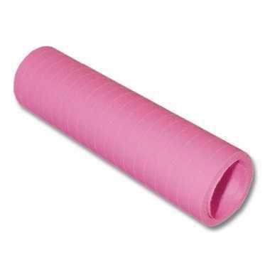 6x stuks rollen serpentines baby roze 4 meter