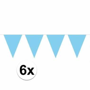 6x vlaggenlijn / slinger baby blauw 10 meter