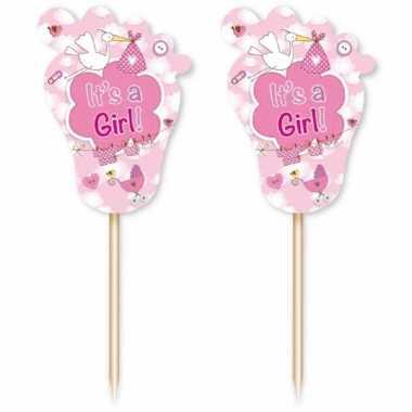 72 stuks roze cocktailprikkers geboorte meisje