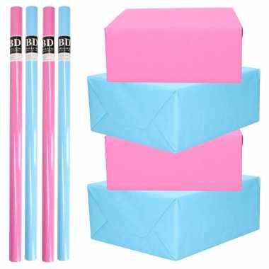 8x rollen kraft inpakpapier pakket roze en blauw babyshower/geboorte/gender reveal 200 x 70 cm