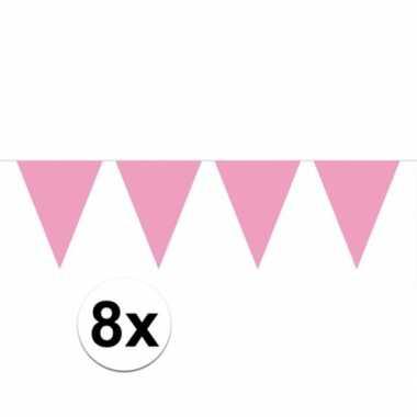 8x vlaggenlijn / slinger baby roze 10 meter