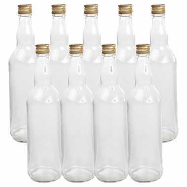 9x stuks diy glazen cadeau/decoratie flesjes 700 ml met dop 8 x 27 cm