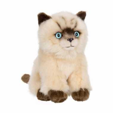 Anna club pluche siamese kat/poes knuffel zittend 15 cm